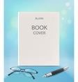 Blank vertical book cover on a blue backgraund vector image vector image