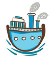 blue steam ship with windows or color vector image vector image