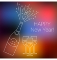 bottle champagne explosion and glasses vector image