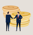 business investment agreement standing handshake vector image vector image