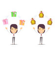 business woman with money and gift box isolated vector image vector image