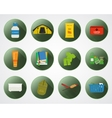 Camping with kids buttons with shadow Set of flat vector image vector image