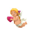 cartoon cupid holding heart isolated vector image