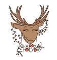 cartoon deer with hanging from its ears garland vector image
