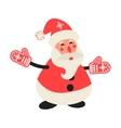 Cartoon happy Santa Claus in red mittens vector image vector image