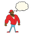 cartoon manly sailor man with thought bubble vector image