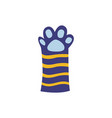 cat or kitten striped paw cartoon blue icon flat vector image vector image