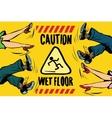 caution wet floor feet of women and men vector image