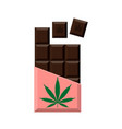 chocolate bar with marijuana leaf narcotic sweets vector image