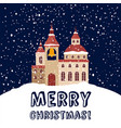 christmas card with christian church and snowfall vector image