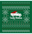 christmas jumper or sweater with car and tree on vector image