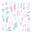 cute romantic doodle drawings vector image