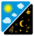 Day and night sun and moon vector image