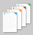 different color document papers vector image vector image