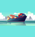 dry-cargo ship at sea loaded boat vector image vector image