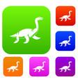 elasmosaurine dinosaur set color collection vector image vector image