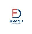 fd letter logo vector image vector image
