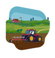 field soil ploughing process flat style concept vector image