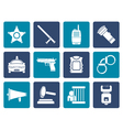 Flat law order police and crime icons vector image vector image
