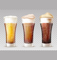 fresh cold beer in wet glasses vector image