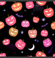 Halloween pattern pumpkins and spiders horror