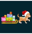 happy christmas dogs on stack presents xmas vector image
