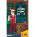 Hipster Santa Claus monkey and taxi on New York vector image vector image