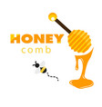 honeycomb bee honey dipper white background vector image