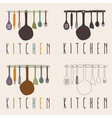 kitchen utensils set design template vector image vector image