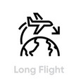 long flight airplane icon editable line vector image