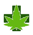marijuana weed green leaf in pharmacy cross vector image