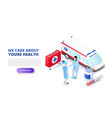 medical concept with ambulance car and doctors vector image vector image