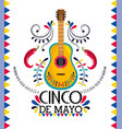 mexican guitar with chili peppers to event vector image