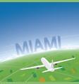 miami flight destination vector image vector image