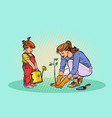 mother and daughter working in the garden vector image vector image