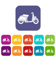 motorbike icons set vector image vector image
