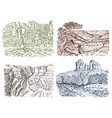mountain peaks with forest grand canyon in vector image