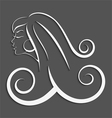 Outline girl curly hair cut out 3d vector image
