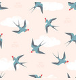 pattern swallow birds with hearts vector image vector image
