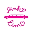 Pink limousine graphic icon sign with text in vector image