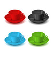 realistic detailed 3d color tea cup set vector image