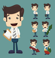Set of businessman characters poses with charts vector image vector image