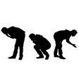 set of curious men silhouettes vector image vector image