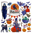 set of halloween cartoon characters and objects vector image vector image