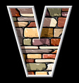 stone letter V vector image vector image