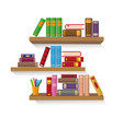 three bookshelves with different colorful books vector image vector image