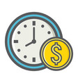 time is money filled outline icon business vector image vector image