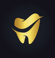tooth dental gold logo vector image vector image