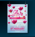 valentines day party flyer design with love vector image vector image