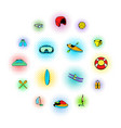 water sport icons set vector image vector image